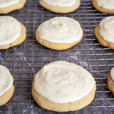 Eggnog Sugar Cookies with Nutmeg Frosting