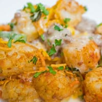 Cheesy Tater Tot Hamburger Casserole is a quick family meal perfect for busy nights!