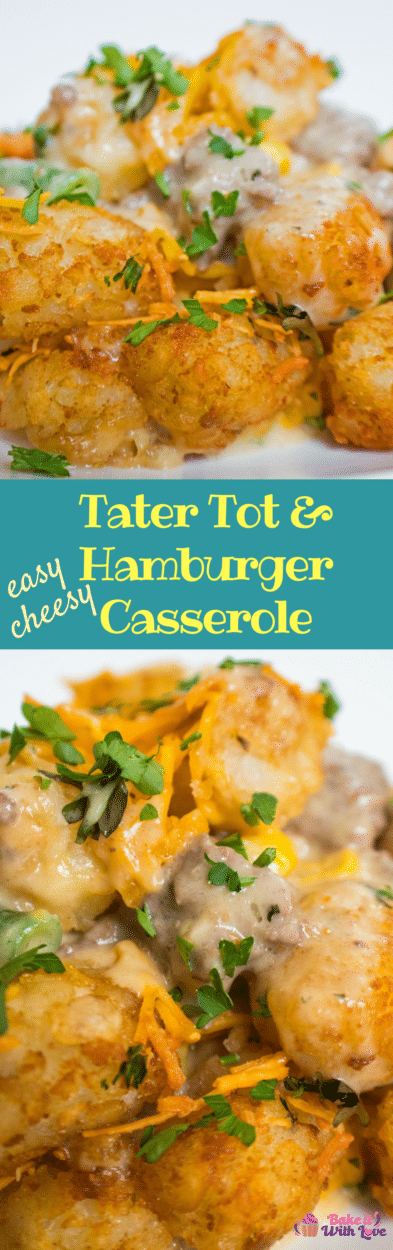 Cheesy Tater Tot Hamburger Casserole is a fnatastic hamburger casserole that I grew up eating on busy weeknights!