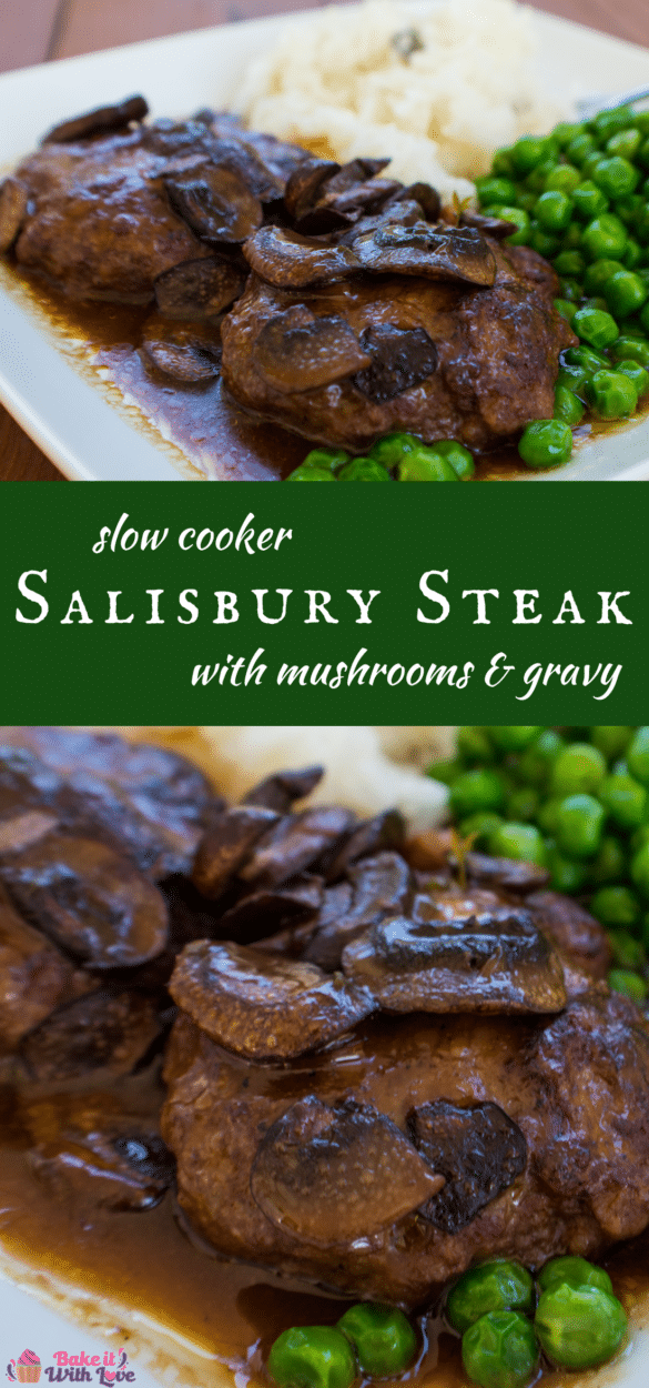 Slow Cooker Salisbury Steak with mushrooms and gravy is a family favorite classic comfort food dinner!