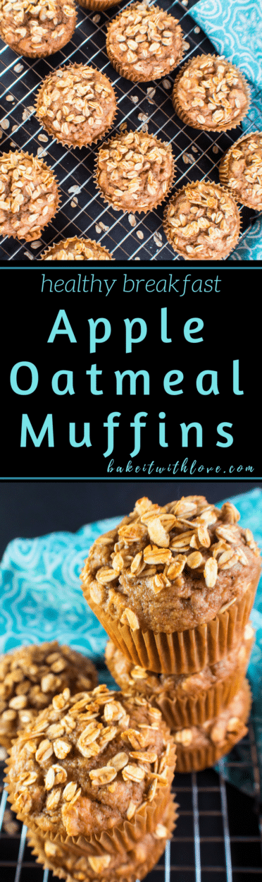 Tasty, healthy Apple Oatmeal Muffins are easy to make and loaded with apple flavors!