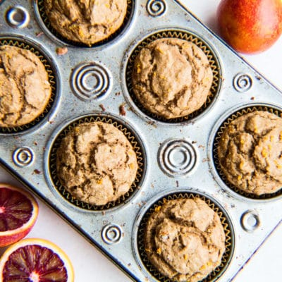 Easy, one-bowl method whole wheat blood orange muffins (refined sugar free) with sugar free options using stevia and honey