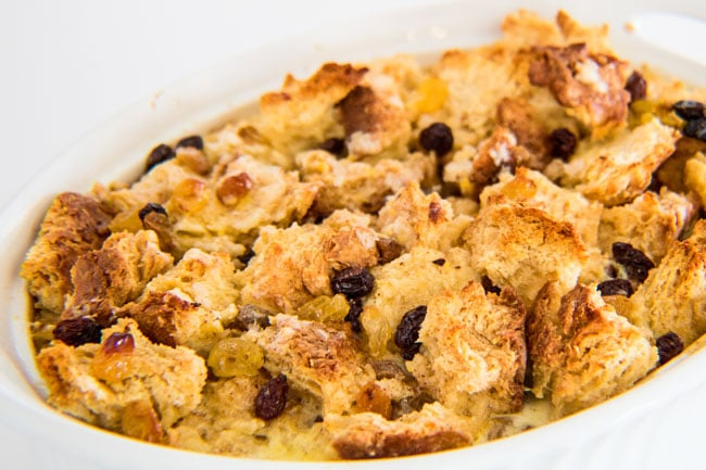 Irish Soda Bread Pudding baked to perfection and ready to top with our Bailey's Creme Anglaise